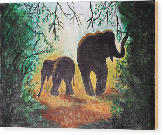 Elephants At Night Wood Print