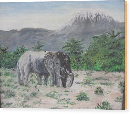 Elephants Strolling With View Of Mt. Kilimanjaro  Wood Print