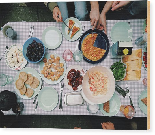Elevated View Of A Variety Of Meals Wood Print by Kirsty Lee / Eyeem