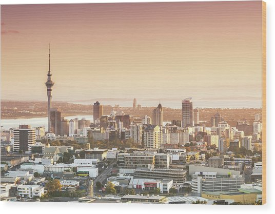 Elevated View Of Auckland City And Cbd Wood Print by Matteo Colombo