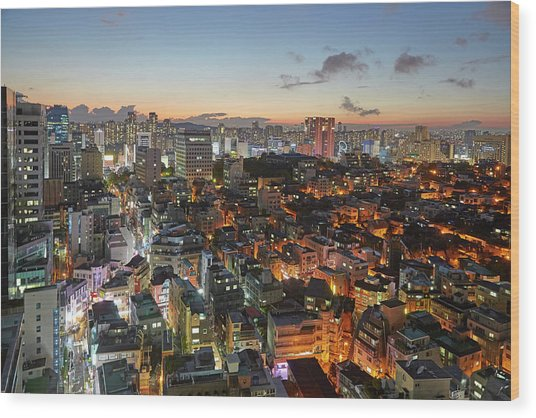 Elevated View Of Gangnam Illuminated At Wood Print by Allan Baxter