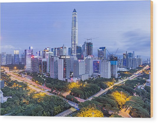 Elevated View Of Shenzhen Skyline Wood Print by Liao Xun