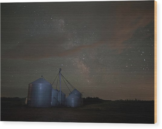 Elevators And Milky Way Wood Print
