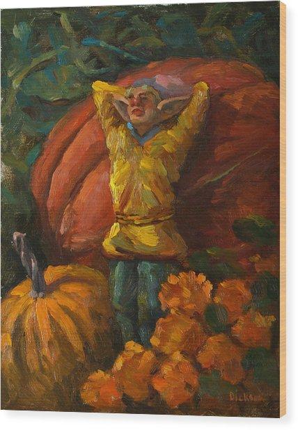 Elf In The Pumpkin Patch Wood Print