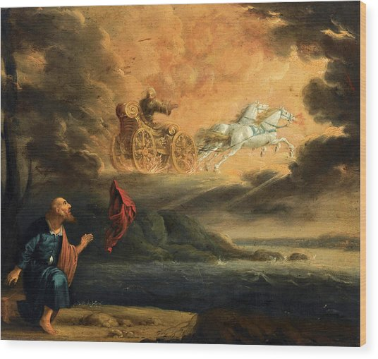 Wood Print featuring the painting Elijah Taken Up Into Heaven In The Chariot Of Fire by Pieter Symonsz Potter