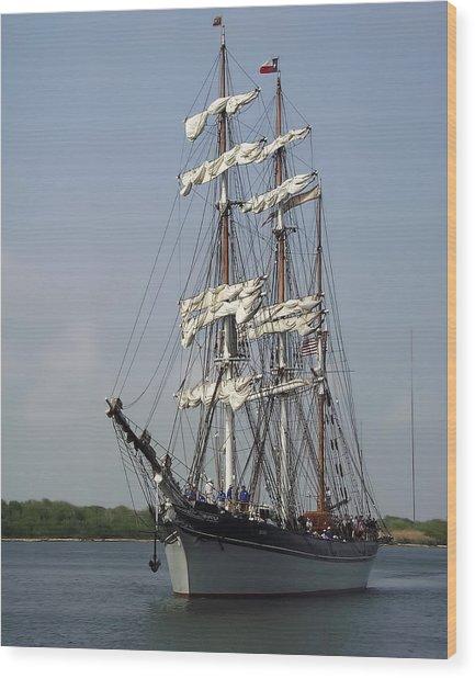 Elissa Tall Ship Wood Print
