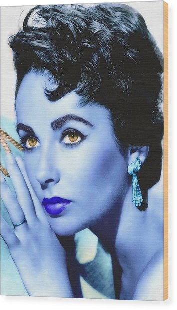 Elizabeth Taylor Wood Print by Art Cinema Gallery