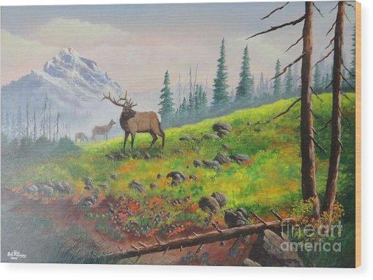 Elk In The Mist Wood Print