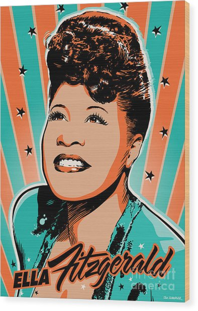 Ella Fitzgerald Pop Art Wood Print