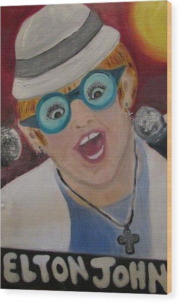 Elton John Wood Print
