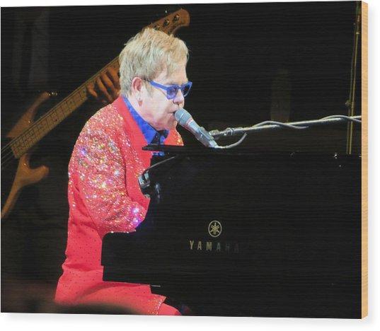 Elton John Live Wood Print