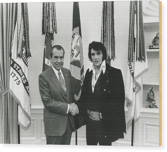 Elvis And Nixon Wood Print