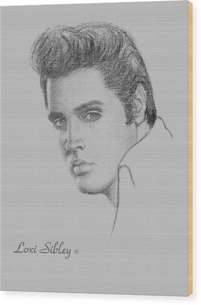 Elvis In Charcoal Wood Print