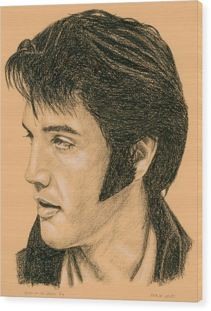 Elvis Las Vegas 69 Wood Print