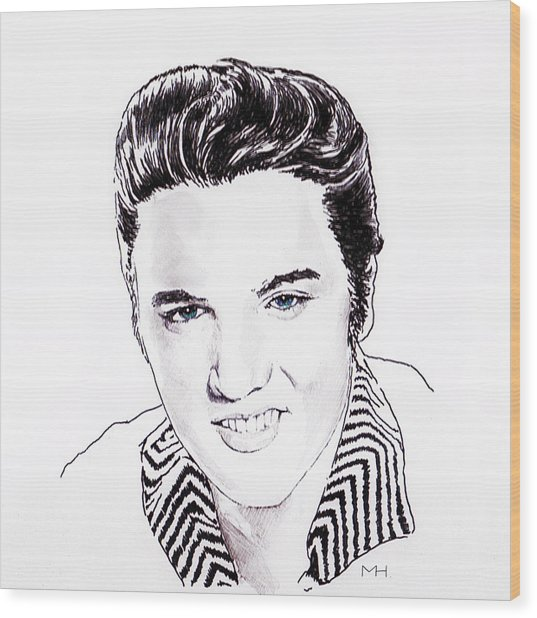 Elvis Wood Print by Martin Howard