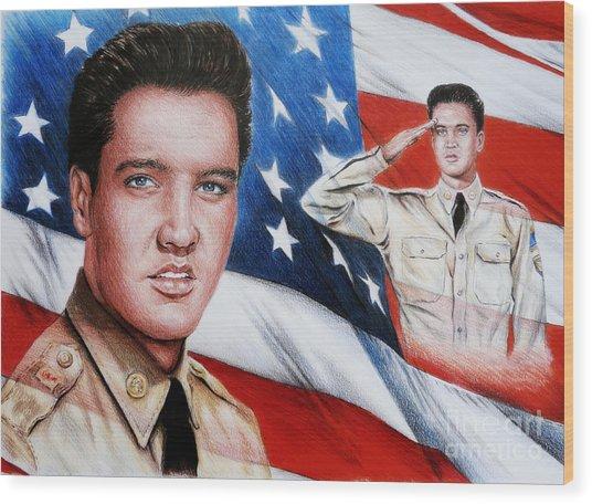 Elvis Patriot  Wood Print