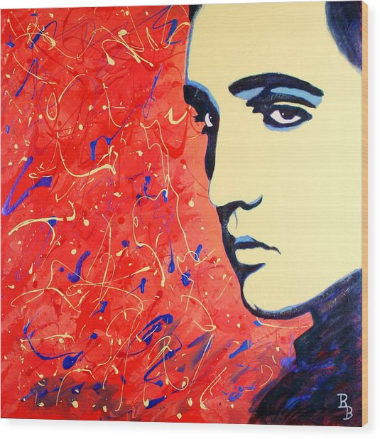 Elvis Presley - Red Blue Drip Wood Print