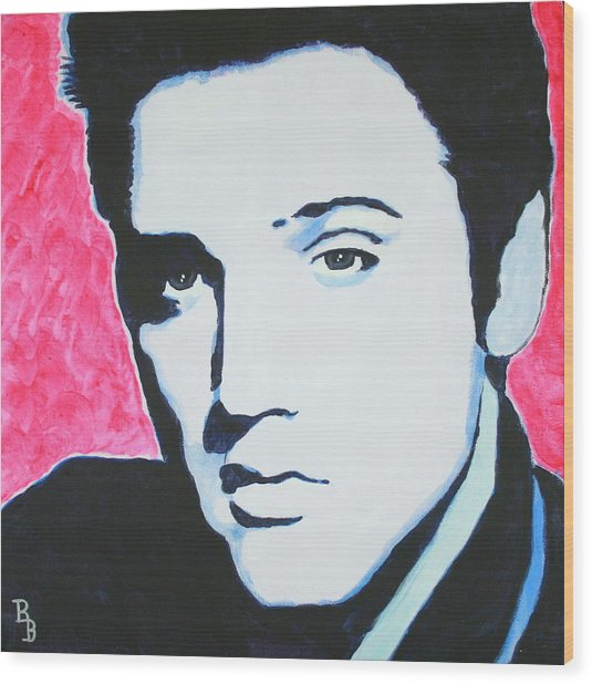 Elvis Presley - Crimson Pop Art Wood Print