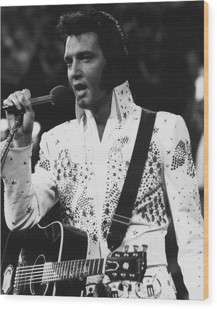 Elvis Presley Singing Wood Print