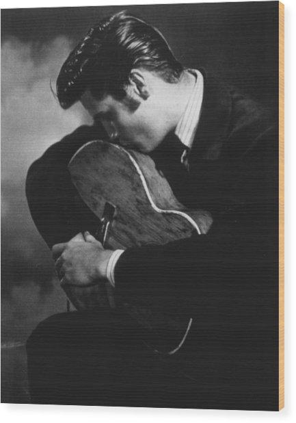 Elvis Presley Kisses Guitar Wood Print