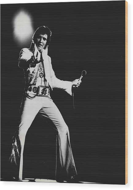 Elvis Presley On Stage Wood Print by Retro Images Archive