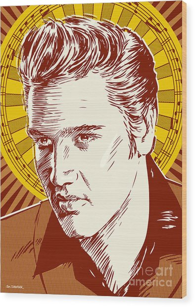 Elvis Presley Pop Art Wood Print