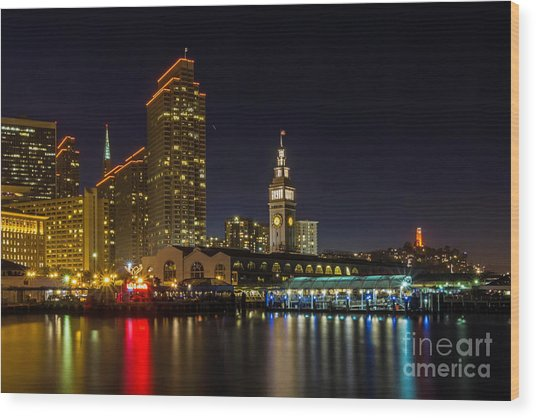 Embarcadero Blue Hour Wood Print