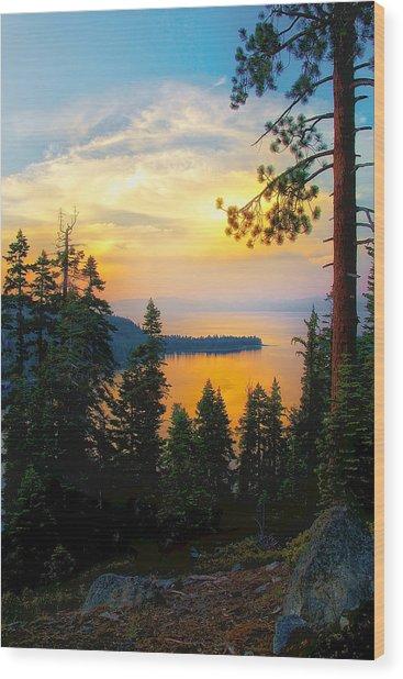 Emerald Bay Sunset Wood Print