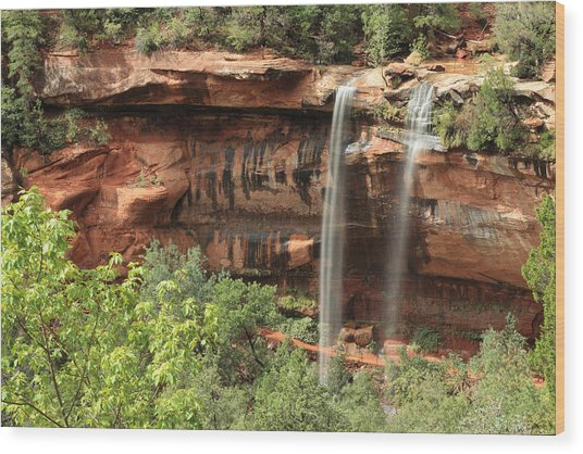 Emerald Pool Falls Wood Print by Darryl Wilkinson