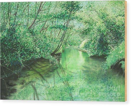 Emerald Stream Wood Print