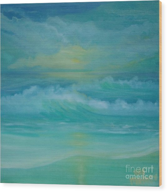 Emerald Waves Wood Print