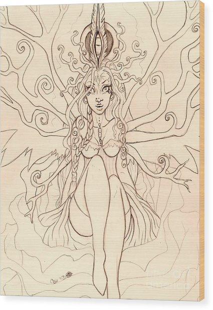 Emergence Sketch Wood Print by Coriander  Shea