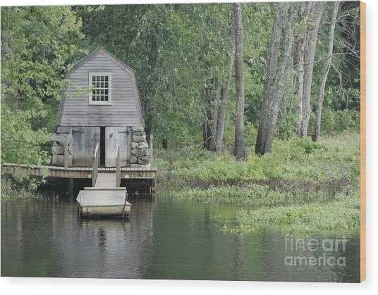 Emerson Boathouse Concord Massachusetts Wood Print