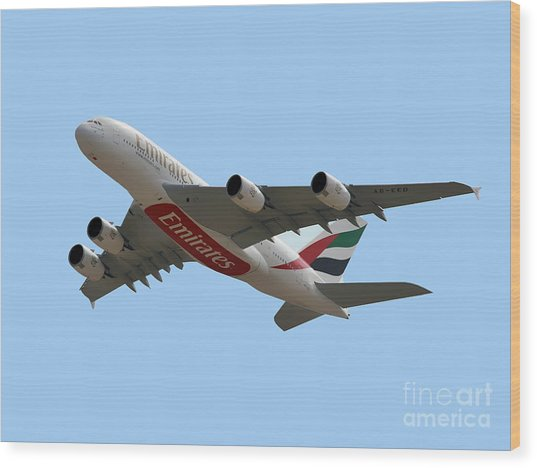 Emirates Airlines Airbus A380-861 Wood Print by Graham Taylor