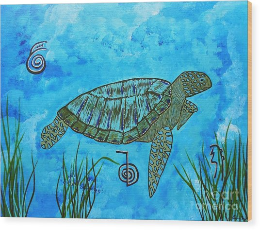 Emotional Healing With The Sea Turtle Wood Print
