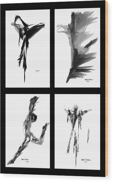 Emotions In Black - Abstract Quad Wood Print