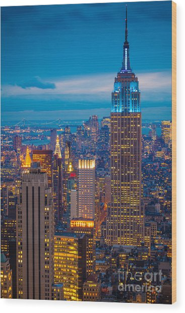 Empire State Blue Night Wood Print