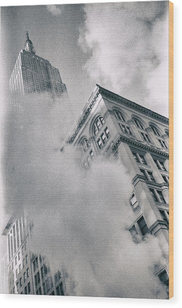 Empire State Building And Steam Wood Print
