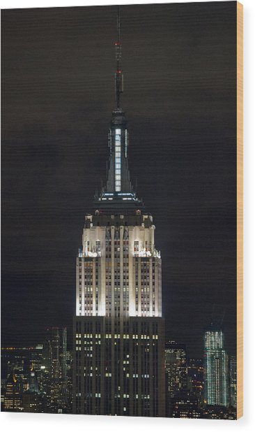 Empire State Building At Night Wood Print