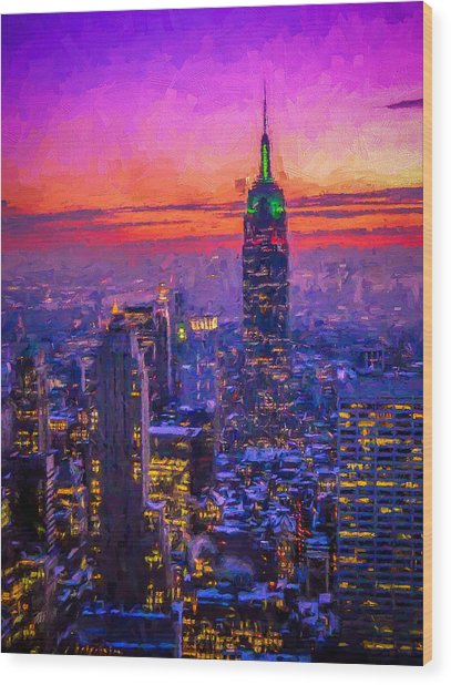 Empire State Building Wood Print by Michael Petrizzo