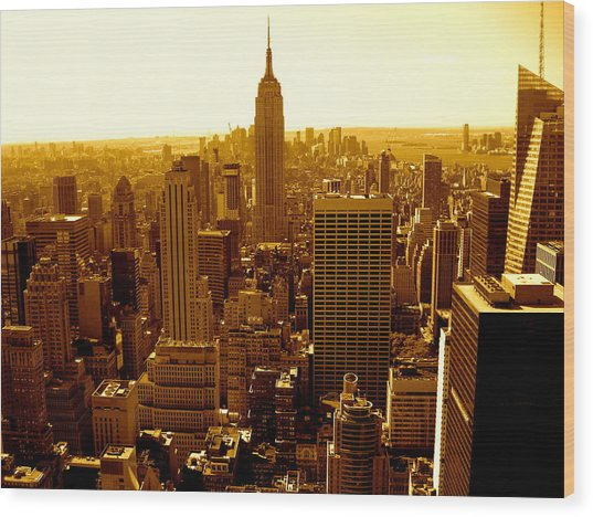 Manhattan And Empire State Building Wood Print