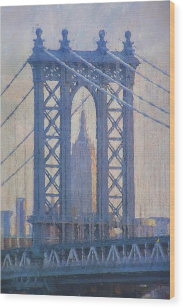 Empire State Building Through The Manhattan Bridge Wood Print
