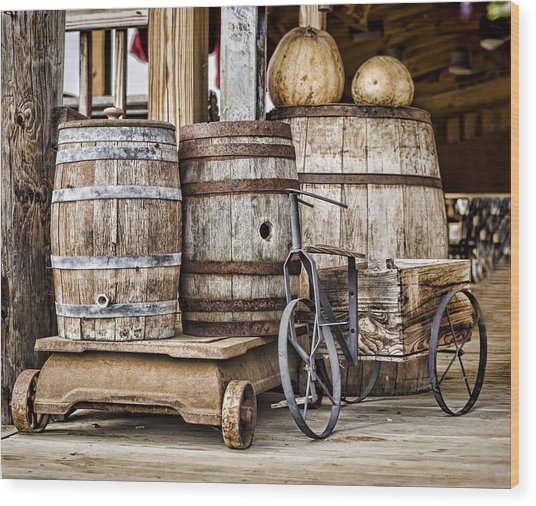 Emptied Barrels Wood Print