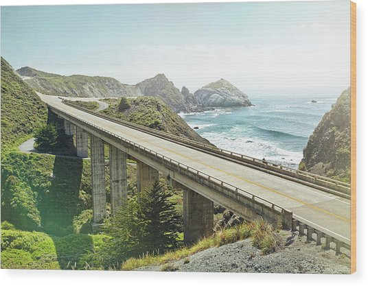 Empty Bridge Overlooking The Sea Wood Print by James O'neil