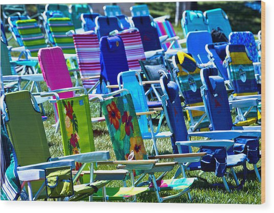Empty Chairs Wood Print