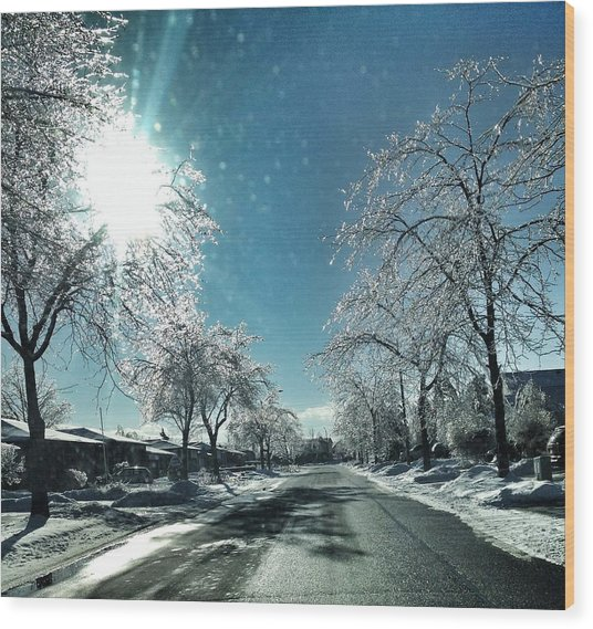 Empty Street In Winter Wood Print by Teresa Tagliacozzo / Eyeem