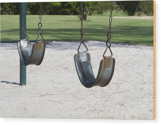 Empty Swings Wood Print