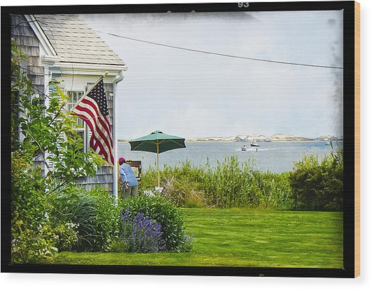 En Plein Air With Flag Wood Print