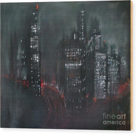 Enchanted City Wood Print