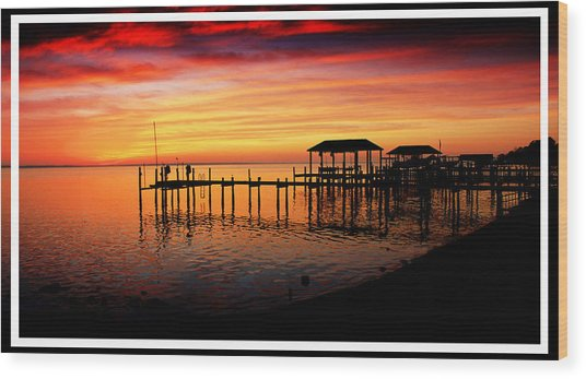 Enchanted Evening At The Hilton Pier Wood Print